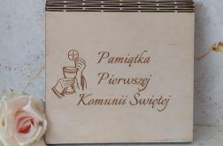 Kartka drewniana w drewnianej kopercie - Pamiątka I Komunii