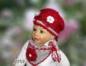 beret/czapka z chustką czerwono -szary