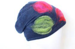 czapka wełniana granatowa handmade