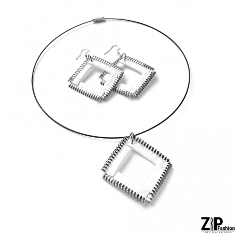 Designerski zestaw biżuterii białe kwadraty