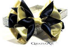 Dekoracyjna kokarda złoto-granatowa bajka