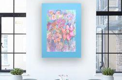 Rysunek z kwiatami na niebieskim tel n2