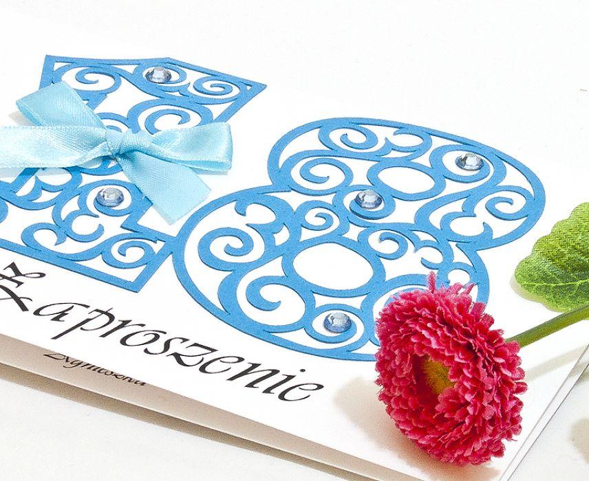 Zaproszenie na 18 osiemnaste urodziny blue - zaproszenie na 18-tkę
