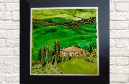 Toskania. Obraz malowany na szkle