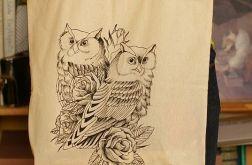 Ręcznie malowana eko torba z sowami
