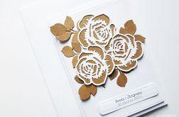 Kartka ŚLUBNA - brązowe róże
