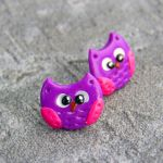 Kolczyki Sówki różowe -