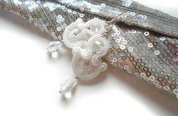 kolczyki ślubne biel i srebro