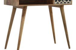 biurko drewno konsola z inkrustowaną szufladą