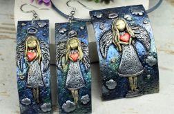 Anioł z sercem - długie kolczyki i zawieszka