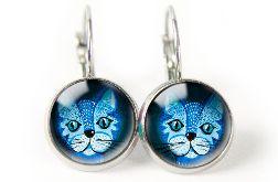 Blue cat kolczyki wiszące z ilustracją