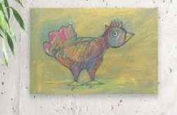 Ptaszek obrazek, ptak rysunek rustykalny-35