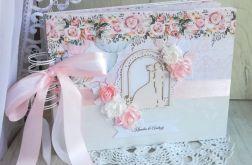 Album ślubny kwiatowy - pudrowy róż i biel
