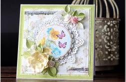 Kartka urodziny imieniny motyle kwiaty