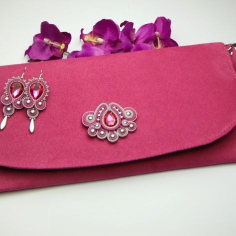 971d4661b6242 Biżuteria wizytowa sutasz kopertówka fuksja - Soutacheria