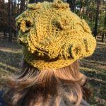 Musztardowy beret  freeform crochet