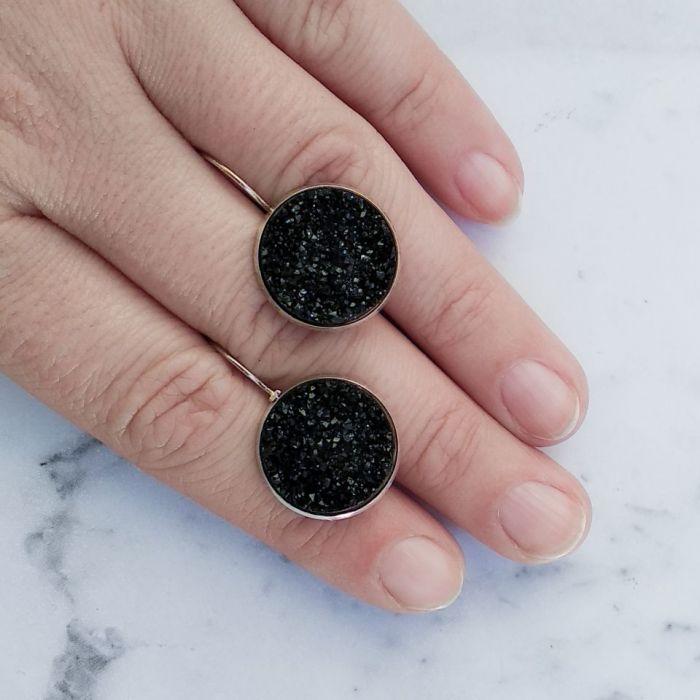 Kolczyki z druzami czarnymi