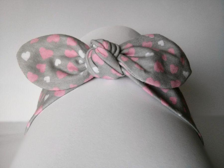 Opaska pin-up serduszka szara różowa wiązana