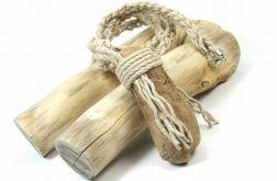 Naszyjnik lniany z drewnem z Bałtyku