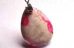 Biało różowy agat szalony, wisiorek łezka