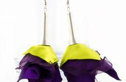 Kolczyki Silk fiolet limonka