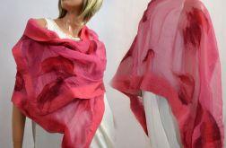 Malinowy szal jedwabny do sukienki