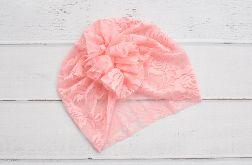 Turban, czapka z koronki łososiowa HAND MADE