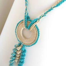 Naszyjnik szydełkowy boho lazurowy błękit i krem