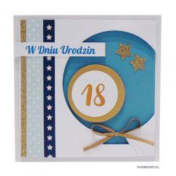 Niebieski balon kartka na 18 urodziny