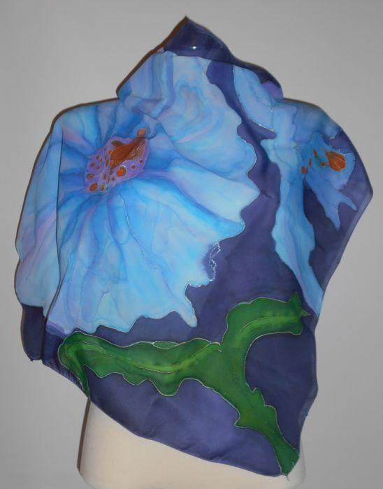 Apaszka Jedwabna Błękitny kwiat