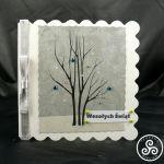 Kartka srebrna ze wstążką - teofano atelier, pocztówka