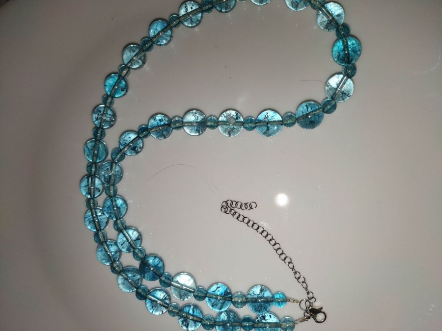 Naszyjnik z naturalnych niebieskich topazów