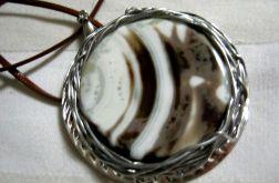 Kremowo - brązowy agat, okazały wisior, projekt autorski