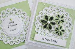 Kartka W DNIU ŚLUBU zielono-biała
