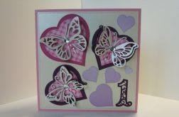 Kartka na roczek (z motylkami)