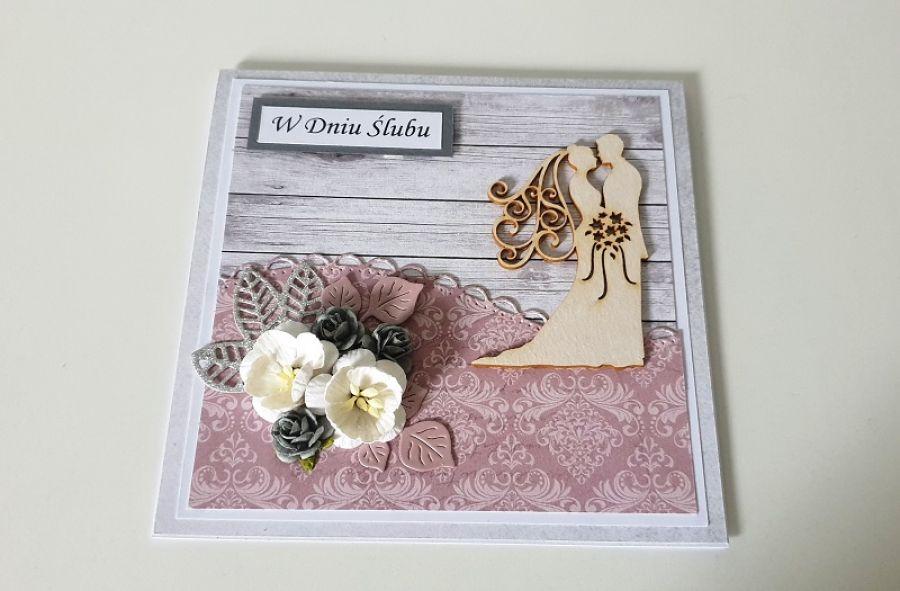 Kartka ślubna na ślub koronka kwiaty -