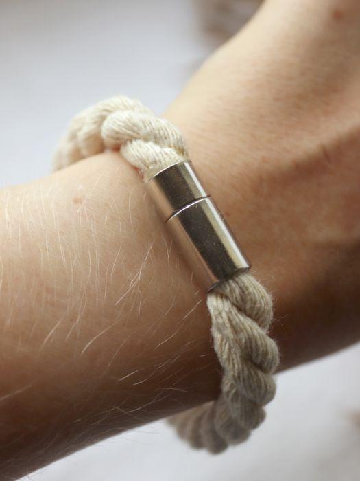 Bransoletka ze skręcanego, kremowego sznurka - Bransoletka w stylu boho
