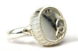 Agat dendrytowy, srebrny pierścionek z agatem