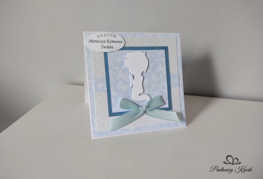 Kartka Komunia Święta dla chłopca niebieska -