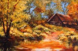 Jesienny pejzaż z chatką