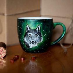 Kubek malowany - Srebrny Wilk