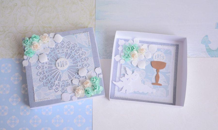 Kartka w pudełku Komunia Święta dla chłopca