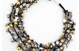 4349 naszyjnik kolia złoto srebro czerń