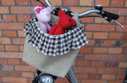 Lniany kosz na rower - wersja romantic vintage