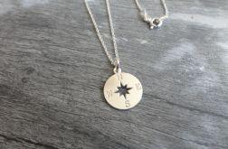 RÓŻA WIATRÓW Srebrny naszyjnik kompas