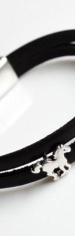 Bransoletka skóra brąz czekoladowy koniki