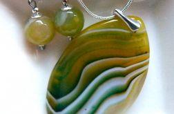 Żółto-zielone agaty i srebro, zestaw biżuteri