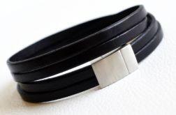 Bransoletka skórzana czarna 2x5 mm damska męska