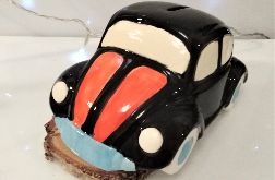 Garbus skarbonka ceramiczna. Czarny VV Beetle