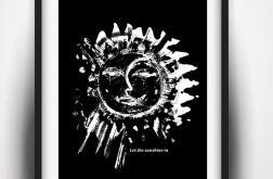 30x40 czarno biały plakat słońce księżyc